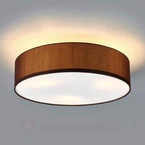 Stoff-Deckenleuchte Sebatin mit E27-LED, hellbraun