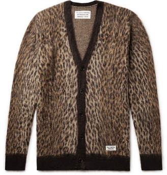 Wacko Maria Leopard-Jacquard Mohair-Blend Cardigan