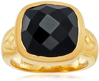 Satya Jewelry Black Onyx Square Lotus Ring