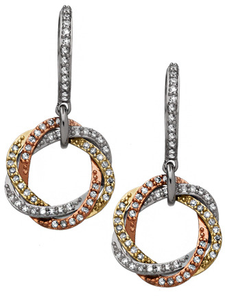 Diamond Tri Color Intertwined Circle Drop Earrings