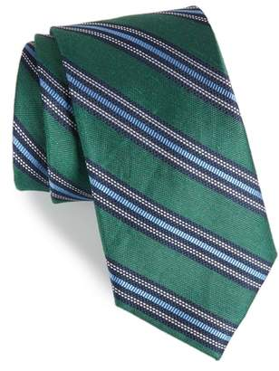 The Tie Bar Rangel Stripe Silk & Linen Tie