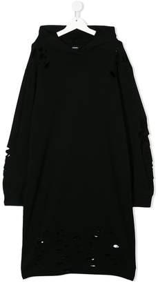 Diesel TEEN distressed hoodie dress