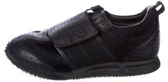 Y-3 Leather-Trimmed Faux Fur Sneakers