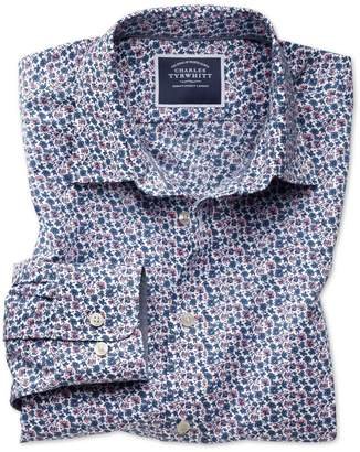 Charles Tyrwhitt Slim Fit Non-Iron Poplin Pink Multi Floral Print Cotton Casual Shirt Single Cuff Size XS