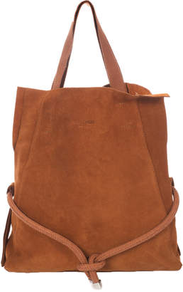 Italian Leather Belted Suede Tote