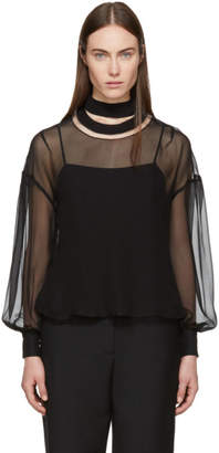 Fendi Black Silk Smiling Collar Blouse