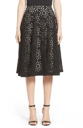 alice + olivia Viviana Floral Lace Midi Skirt $330 thestylecure.com