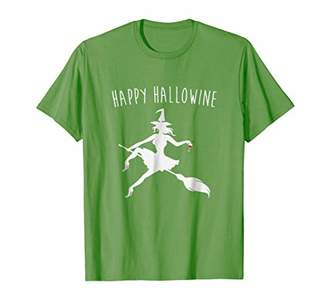 Happy Hallowine Witch Broomstick With Wine Halloween T Shirt