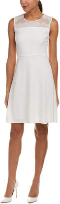 Elie Tahari Silk-Trim A-Line Dress