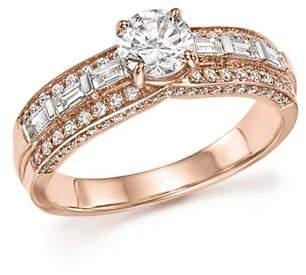 Bloomingdale's Diamond Round and Baguette Center Ring in 14K Rose Gold, 1.0 ct. t.w. - 100% Exclusive