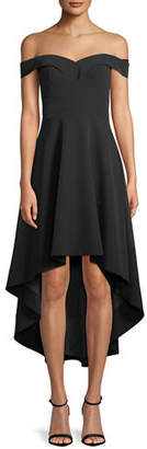 Aidan Mattox Off-the-Shoulder High-Low Crepe Cocktail Dress