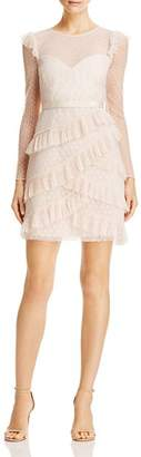 BCBGMAXAZRIA Ruffled Point D'Esprit Dress