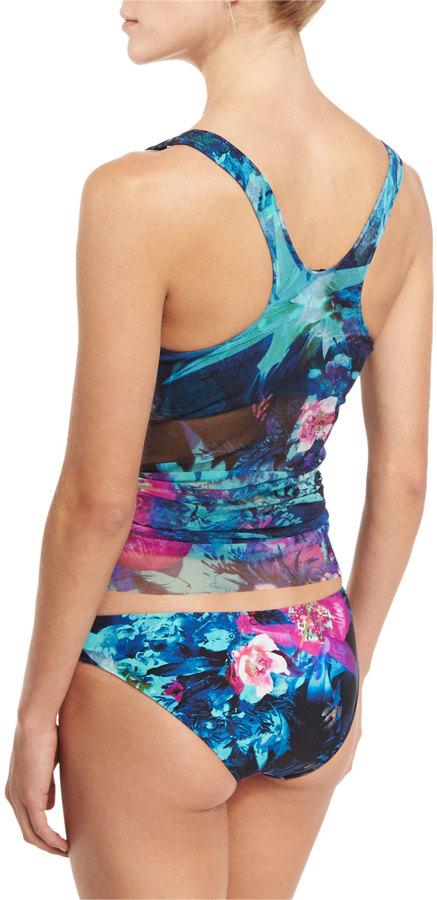 Fuzzi Tropical-Print Two-Piece Tankini Swimsuit, Turquoise 3