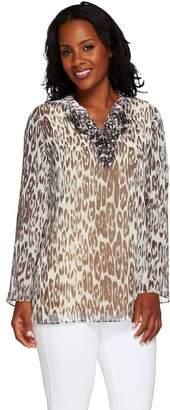Susan Graver Artisan Printed Sheer Chiffon Embellished Tunic