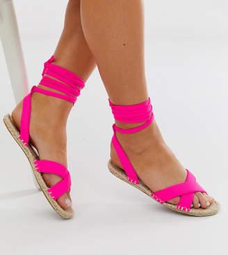Asos Design DESIGN Wide Fit Jala espadrille flat sandals in pink neon