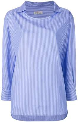 Alberto Biani pinstriped collarless shirt