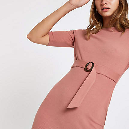 Womens Pink belted short sleeve midi dress