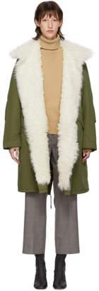 Yves Salomon Army Green Down Fur Collar Parka