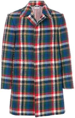 Thom Browne Gingham Tartan Classic Bal Collar Hair Mohair Overcoat