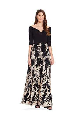 Adrianna Papell Jersey And Embroidery Gown