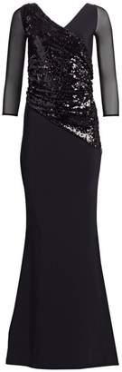 Chiara Boni Erendira MM Sequined Long Sleeve Gown