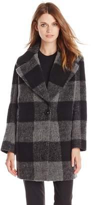 Kensie Outerwear Women's Plaid Cocoon Wool Coat