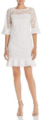 Adrianna Papell Embroidered Bell-Sleeve Shift Dress