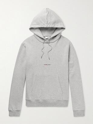 Saint Laurent Logo-Print Melange Cotton-Blend Jersey Hoodie - Men - Gray