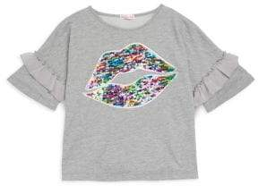 Design History Girl's Sequined Lips Top