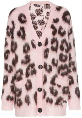 Miu Miu Leopard print mohair-wool blend cardigan