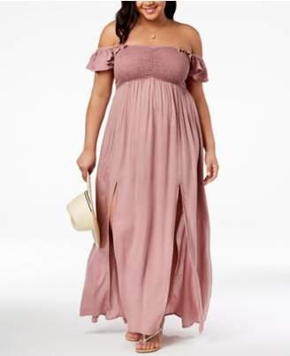 Raviya Plus Size Off-The-Shoulder Maxi Dress Cover-Up
