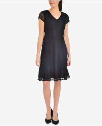 NY Collection Lace Ruffle-Hem Dress