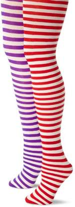 MUSIC LEGS Women's Petite 2 Pack Opaque Striped Tights, Purple/White/Red