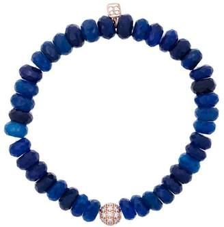 Sydney Evan 14kt gold chalcedony beaded bracelet with diamond ball charm
