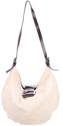 Fendi Leather-Trimmed Zucca Canvas Hobo