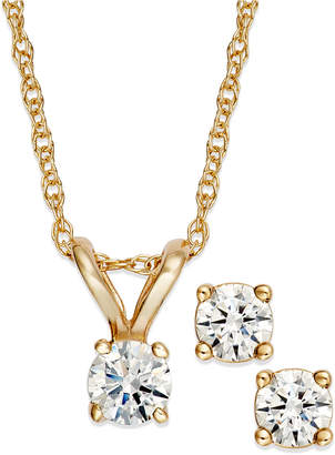 Macy's Round-Cut Diamond Pendant Necklace and Earrings Set in 10k Yellow or White Gold (1/6 ct. t.w.)