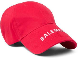Balenciaga Logo-Embroidered Cotton-Twill Baseball Cap - Men - Red 759176280d3c
