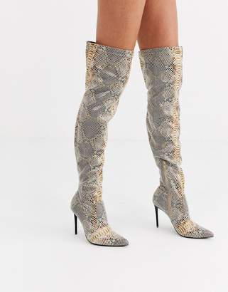 Truffle Collection stiletto high heeled thigh boots in snake