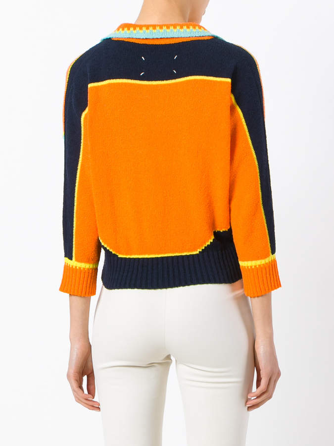 Maison Margiela colour block knitted cardigan
