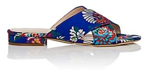 Barneys New York Women's Floral Satin Brocade Slide Sandals - Blue