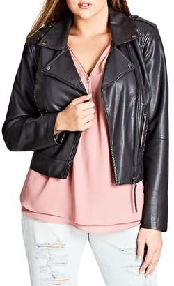 City Chic Whipstitched Biker Jacket