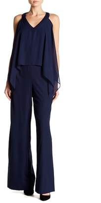 Marina Draped Overlay Sleeveless Jumpsuit