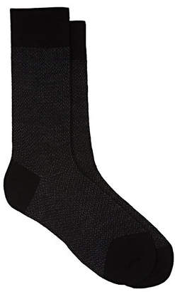 Barneys New York Men's Herringbone Virgin-Wool-Blend Mid-Calf Socks - Black Pat.