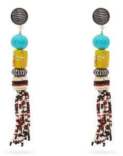 Etro Beaded Tassel Earrings - Womens - White