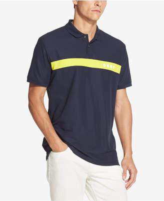 6c92fada DKNY Men Regular-Fit Moisture-Wicking Colorblocked Logo-Stripe Polo Shirt