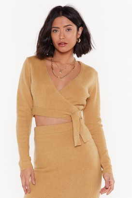 acddeb28033ca5 Nasty Gal Get Used to Knit Cropped Wrap Jumper