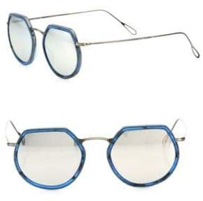Kyme Omar 49MM Modified Round Mirrored Sunglasses
