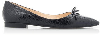 Prada Croc-Effect Leather Point-Toe Flats