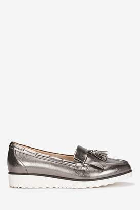 efa7a440eab Next Womens Evans Metalic Extra Wide Fit Tassel Loafer