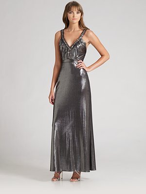 ABS Jeweled Metallic Gown